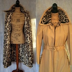 VINTAGE trench coat lined animal print belted